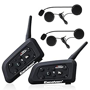 Excelvan 2X V6 Pro Bluetooth Moto Interphone Moto Intercom Casque Bluetooth Moto Interphone pour 6 Coureurs Casque 1200m pour l'équitation et Le Ski