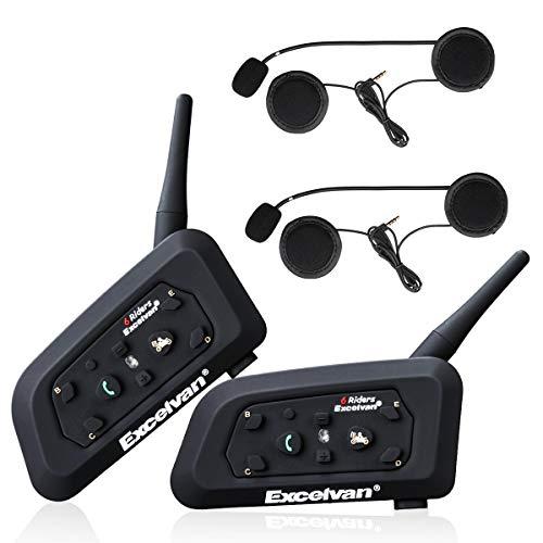 Excelvan V6 Pro- 1200M Bluetooth Motorradhelm Intercom Motorrad Headset Gegensprechanlage (GPS, DSP, Max zu 6 Reiter, für Handy Navi Auruf Musikhören, wasserdicht, USB aufladen, 850mAh)