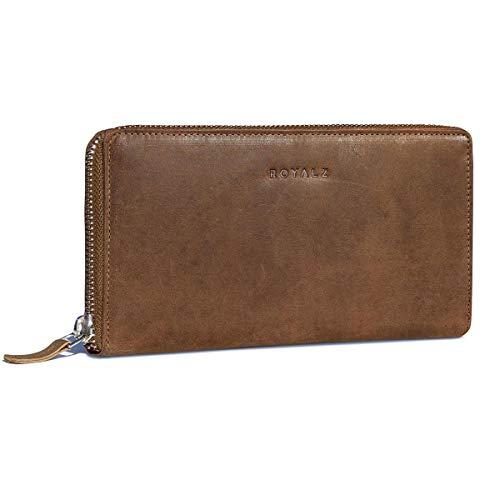 ROYALZ Vintage Geldbörse für Damen mit RFID Blocker Büffel-Leder Portemonnaie Brieftasche...