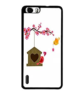 PrintDhaba Love Birds D-1183 Back Case Cover for HUAWEI HONOR 6 PLUS (Multi-Coloured)