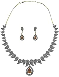 American Diamond Gold And Rhodium Plated Necklace Set For Women