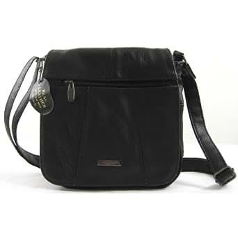 Womens Leather Shoulder Bag / Handbag (Black)