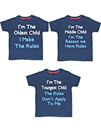 Edward Sinclair Brother Set I'm The Oldest Child, I'm The Middle Child and I'm The Youngest Child Navy T-Shirt (Please Enter Sizes In Free Gift Message Box)