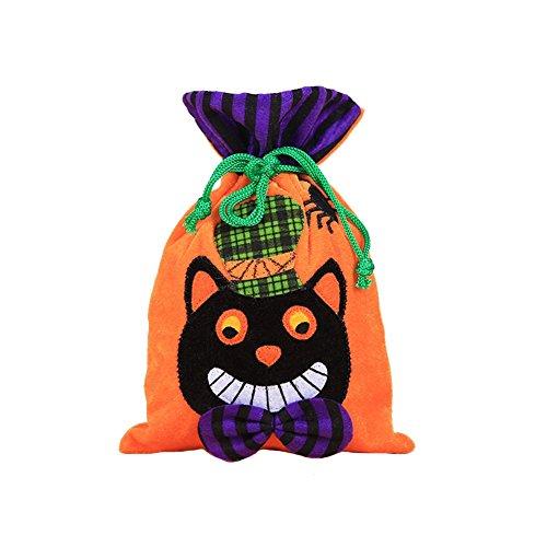 Milopon Halloween Süßigkeiten Tasche Kinder Tote Geschenke Taschen Handtaschen für Halloween Deko Kostüm Party (Orange Katze) (Geist, Katze Halloween Kostüm Anzug)