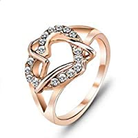 خاتم الحب النسائي مطلي بالذهب ومزين بالكرستال الشفاف
