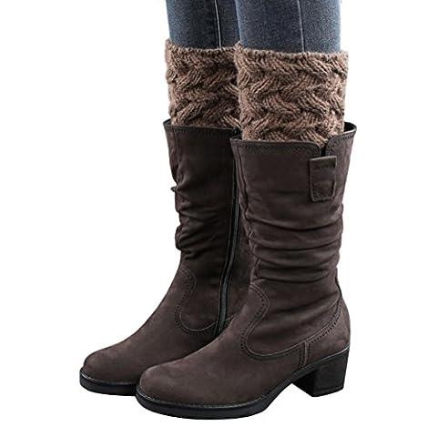 Women Leg Warmers,Clode®1 Pair Special Design Keep Warm Winter Women Brief Paragraph Coarse Needle Leg Warmers Socks Boot Cover (Khaki)
