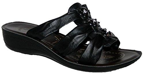Ladies Cushion Walk Lightweight Slip On Summer Mule Sandal - Black -...