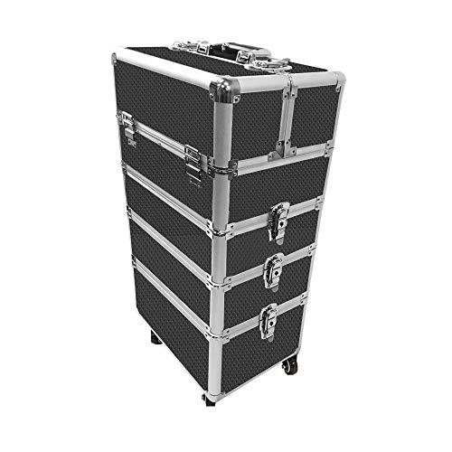 HENGMEI 4-in-1 Trolley Kosmetikkoffer Schminkkoffer Beauty Case Multikoffer XXL Größe für Gepäck, Nagelstudio (Schwarz-Diamant) -