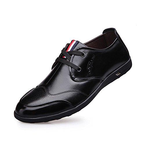 Herren Black Braun GRRONG Freizeit Breathable Schuhe Schwarz Leder Blau Rindsleder Echtes Leder 7xZ6wx