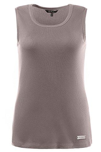 Ulla Popken Femme Grandes tailles | Débardeur sans manches Col rond Basique Stretch en Coton | 706270 chrome mat