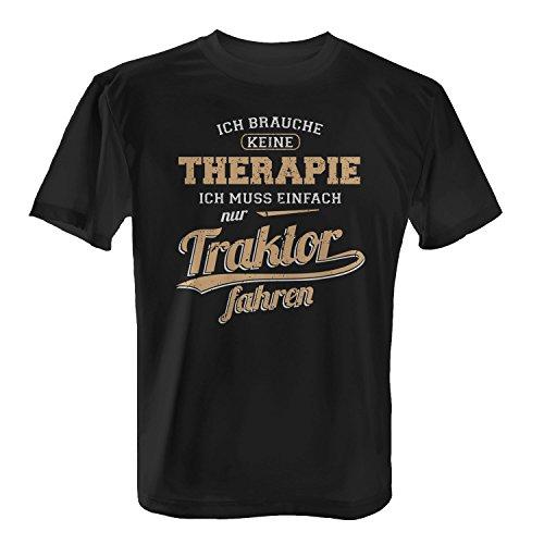 Fashionalarm Herren T-Shirt - Ich brauche keine Therapie - Traktor | Fun Shirt mit Spruch als Geschenk Idee Landwirt Traktorist Bauer , Farbe:schwarz;Größe:XL