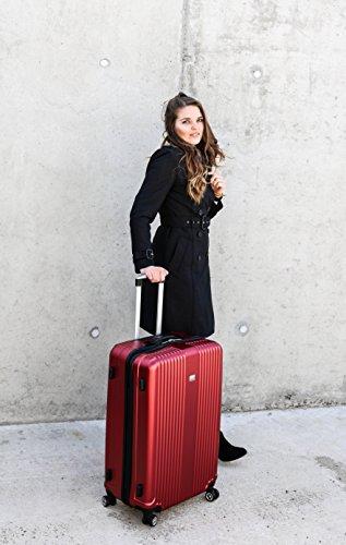 PURE Koffer SENSATION / Reisekoffer / Hartschale / Trolley / robustes PET / 4 Rollen / TSA Zahlenschloss (rot, S) - 6