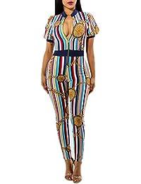 Tute Eleganti Donna Lungo Estivi Strisce Verticali Colorate Stampa Vintage  Manica Corta Festa Style con Cerniera c23e0092ee1