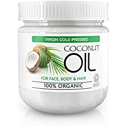 Huile de Coco Extra Vierge 100% Bio Pure - Crème Hydratante de Corps pour Tous Types de Peau, Réduit les Signes de Vieillissement et l'Apparition de Rides et Cernes 500ml