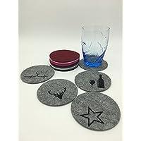 Untersetzer Rund Ø 10 cm Tassenuntersetzer Glasuntersetzer aus Filz ++viele Farben++ Auf Wunsch mit Stickerei Bestickt | Stern | Geweih | Glas Flasche | EKG