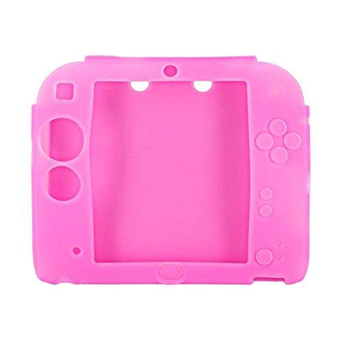 2Packungen Multicolor Weich Silikon Schutzhülle für Nintendo 2DS Schutz Guard Soft Gummi-Haut, Schutzhülle für 2DS Spiel Konsole Gepunktet Blue + Pink