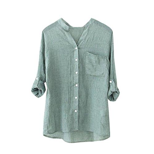 OVERDOSE Damen Frauen Baumwollfeste Lange Hülsen Hemd Beiläufige Lose Blusen Knopf Unten Spitzen Tops T-Shirts (S, Grün) (Leinen Kleid T-shirt)