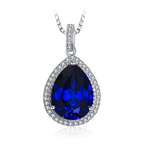 Blue pendant necklace amazon jewelrypalace luxury pear cut 109ct created blue sapphire solid 925 sterling silver pendant necklace 18 inches mozeypictures Choice Image