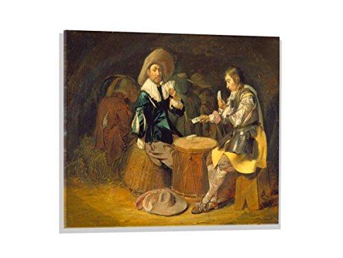 """Glasbild: Wilhelm Cornelisz Duyster """"Kartenspielende Offiziere"""", hochwertiges Wandbild, brillanter Kunst-Druck auf Echtglas, 80x60 cm"""