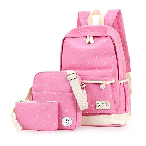 YiLianDa Schulrucksack Mädchen Canvas Rucksack Damen Schul Schulranzen/Schultasche 3pcs Set Pink