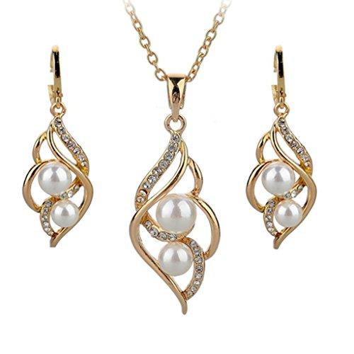 Set di gioielli con perle, placcato oro 18 k, collana e orecchini con cristallo Austrain AccessoriesALPE0006WH di matrimonio