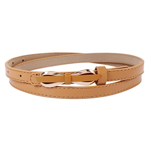 Damara Womens Thin Bowknot Buckle Faux Leather Stylish Dress Belt Test