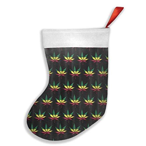 Not afraid Jamaica Flag Weed Reggae Christmas Stockings Fireplace Decor DecorationChristmas Holiday Stockings for Party Accessory,