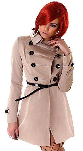 Edler Damen Mini-Trenchcoat - Beige - Größe 38 - Kurzmantel inkl. Gürtel