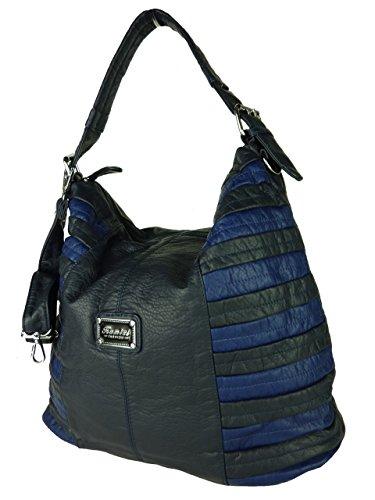 Shopper Susan, Borsa Da Donna Grande, Tracolla In Vari Colori Con Cinturini Lunghi, Ideale Anche Come Zainetto - A4 Adatta, 42x30x18cm (grigio Bianco) Blu