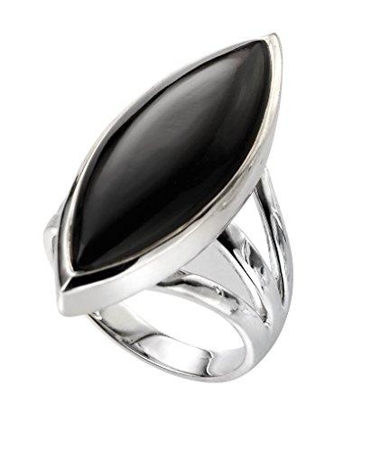 Elements Silver - 925 Sterling-Silber Silber Marquiseschliff schwarz -