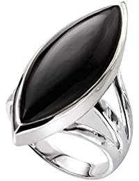 Elements Silver Marquise Black Onyx Ring - Size L