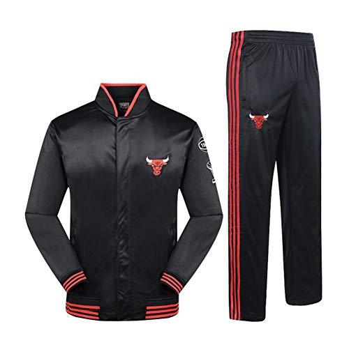 NBALL-HU Chicago Bulls Schwarz Sportanzug Basketball Trainingsanzug Langarmtrikot Frühling Und Herbst Jacke Set (Tops + Pants),M:170~175cm