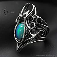 Wire wrapped ring gift for woman special gift for girlfriend wire wrap handmade ring silver opal gothic fantasy ring opal