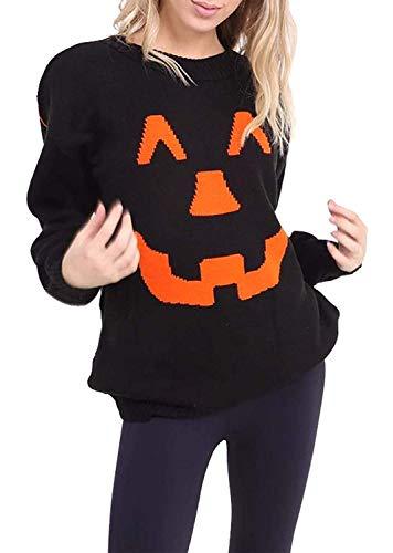 Womens Ladies Halloween Pumpkin Knitted Sweatshirt Jumper Mens Long Sleeve Printed Spooky Shirt Sweater Black XX-Large