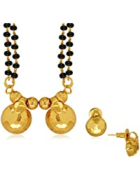 Spargz Traditional Daily Wear Brass Metal Gold Double Line Beaded Mangalsutra Set For Women AIMS 086