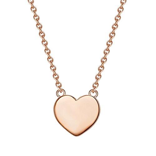 Glanzstücke München Damen-Silberhalskette mit Anhänger Herz Sterling Silber rosévergoldet 40 + 5 cm lang - Silberkette Herzkette Modern-Kette mit Herz-Anhänger (Moderne Herz-anhänger)