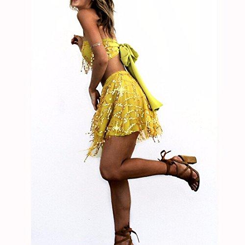 QIYUN.Z Les Femmes Bling Paillettes Bustier Tube De Lacets Debardeurs Taille Haute Jupes Fixes Jaune