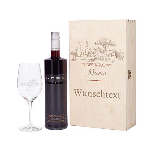 Herz & Heim® Weinset - Motiv Weingut - mit graviertem Weinglas und Bree Wein zur Auswahl in Premium Geschenkverpackung Rot