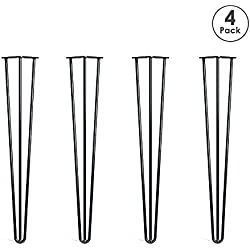 """Locisne - 28 """"Three-Rod horquilla Metal de las patas de la mesa, Acero Fundido Negro 9mm, Paquete de 4, Estilo Moderno, Comedor, Muebles, Accesorios para Los Muebles de Madera, Mesa de café, Mesa de comedor (28"""" 3 rod)"""