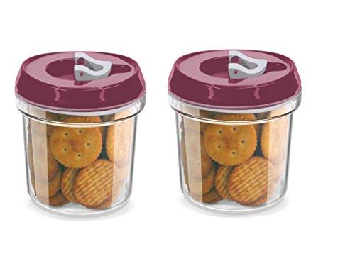 Milton Box Tea Time Jar Set Of 2Pcs Air Tight (500Ml) Namkeen,Biscuit & Dry Fruit Etc. 41VlWqL97ZL