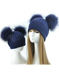 BrillaBenny 2 Cappelli Cashmere Doppio PON PON Pelliccia Mamma e Figlia  Cappellino Cuffia Donna Bambino Hat 2fe17c95d805