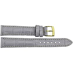 Watch Strap in Purple Leather - 16mm - Alligator grain - buckle in Gold stainless steel - B16PurAli82G