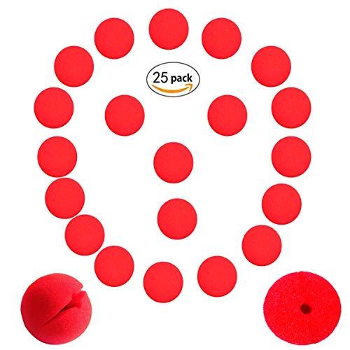 Tangger Clown-Nase Schaumstoff Rot ,25 Stück Red Foam Clown Nose Day Accessoires für Halloween Weihnachten Kostüm Neuheit Karneval Zirkus Party