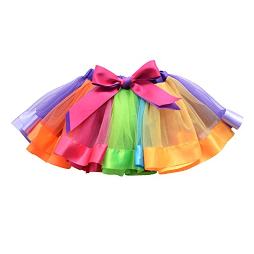 FENICAL Girls Rainbow Tutu Skirt Ruffle Tiered Dance Dress Party Supplies for Girls 4-6 Years Old