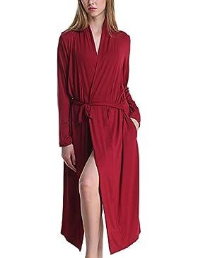 Surenow Kimono da Donna in Cottone Lungo Cucitura Regolabile Accappatoio Manica Lunga Tuta a Casa