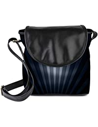Snoogg Black And Grey Strips Womens Sling Bag Small Size Tote Bag