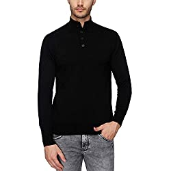 Indian Terrain Mens Mao Collar Solid Pullover