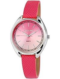 Trend de Wares de mujer reloj de pulsera rosa plata analógico de cuarzo metal piel mujer reloj números arábigos