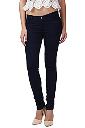 Miss Wow Basic Carbon Blue slim fit denim jeans for Women