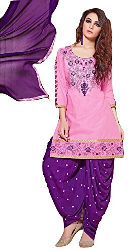 Shalibhadra pink color top with blue color duppata and blue color salwar cotton unstitched fully heavy Embroidered work patiala suit pataliya dress material for women